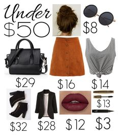 """""""An Edgy Day on the Town"""" by eliannepbororing ❤ liked on Polyvore featuring WithChic, L'Oréal Paris, under50 and skirtunder50"""
