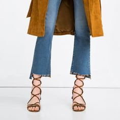 Pin for Later: 24 Leg-Lengthening Shoes You Can Wear All Summer Long  Zara Lace-Up Leather Sandals ($139)