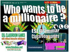 CLASSROOM GAMES - WHO WANTS TO BE A MILLIONAIRE ? - ESL GRAMMAR (10 series)- COLLEGE - Tableau Blanc Interactif TBI TBN IWB