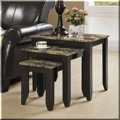Nesting End Tables 3 Piece Rustic Accents Gray Brown Living Room Furniture