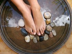 Amazing DETOX Foot Soak  ~ In ½ Gal Mason Jar, mix 1 C Epsom Salt, 1  C  Sea Salt, 2 C Baking Soda.  Shake well to mix.  ~ Add ¼ Cup mix to tub of water as hot as you can take. Relax. Soak for 30 minutes.  Dry and wash with warm, soapy water, dry again. Brush bottoms of feet with a natural bristle, foot brush. Add only Therapeutic-Grade, Young Living Essential Oils to finish.  ~ For added benefit, add these oils: Basil, Eucalyptus, Frankincense, Grapefruit, Lavender, Lemon, Peppermint, Rosemary.