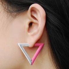 Magenta Geometric Triangle Magnetic Earrings - Super-cool and on-trend, these magnetic hoop earrings have a half and half interchangeable design of lustrous silver and frosted Persian pink. #Jasperandopal #Jewellery #Valentine #Valentinesday #PersonalisedGift #ForHer
