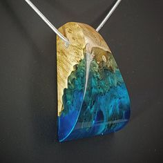 Pendant Necklace Handmade jewelry. Wood with Blue transparent Resin. Silver chain. Contemporary. Gift for her.