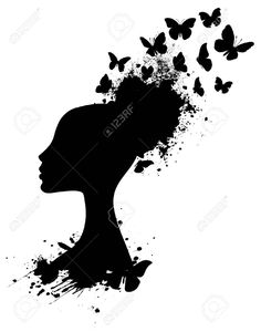 Profile Silhouette Of An African Woman With Butterflies Bursting.. Royalty Free Cliparts, Vectors, And Stock Illustration. Pic 12403157.