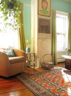 Wary Meyers - Domino Magazine spread - seafoam green walls and oriental carpet