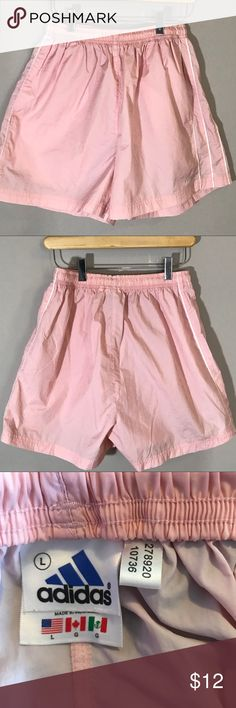 """Adidas light pink workout shorts Light adidas shorts in great condition.  Elastic waistband and side pockets.   15"""" long              13.5"""" waist        4"""" inseam adidas Shorts"""