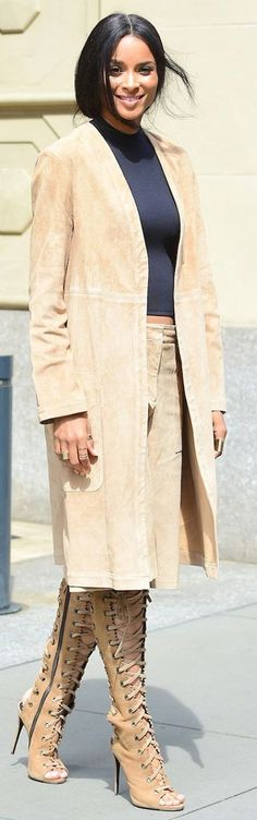Long Suede Jacket Outfit Idea