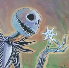 Jack Skellington from The Nightmare Before Christmas Done on 6x6 inch Aquabord with Winsor & Newton Gouache Paints