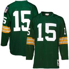 Green Bay Packers #15 Bart Starr Green Long Sleeve Throwback Collectible Jersey - $249.99