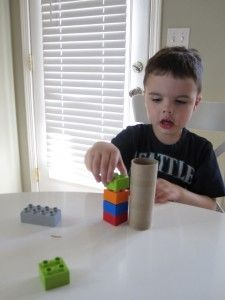 Use blocks like Lego to measure household items.  What non standard measuring tools to your kids like to use?