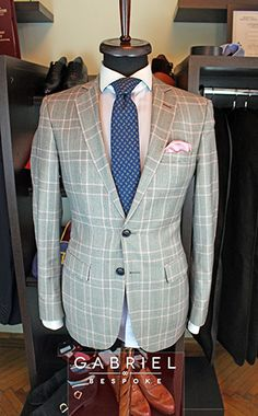 Pink and grey Gabriel Bespoke tartan jacket  #tartan #bespoke #madetomeasure #gabriel #jacket