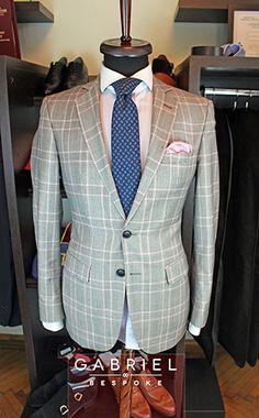 Pink and grey Gabriel Bespoke tartan jacket  #tartan #bespoke #madetomeasure #gabriel #jacket