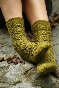 Miss Babs Yarns and Fibers~Ivy Trellis Socks in Moss