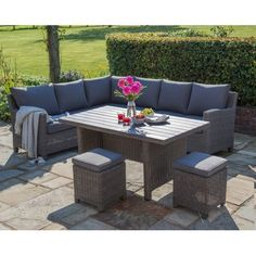 Buy the Kettler Palma Casual Dining Corner Set With Side Table - Rattan – Browse our wide selection of all Rattan garden furniture products. Notcutts have been providing garden inspiration since 1897 with free delivery available.