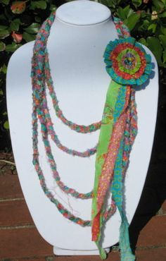 Boho/Gypsy Style Braided Fabric necklace
