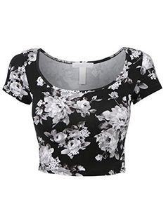 RubyK Womens Fitted Short Sleeve Floral Print Crop Top with Stretch RubyK http://www.amazon.com/dp/B00VB01Y8A/ref=cm_sw_r_pi_dp_Sxcqvb0E00K6K