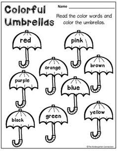Kindergarten Math and Literacy Printables SAMPLER FREE color word umbrellas! Part of an April themed printables pack for KindergartenFREE color word umbrellas! Part of an April themed printables pack for Kindergarten Kindergarten Reading, Preschool Kindergarten, Preschool Worksheets, Preschool Learning, Color Words Kindergarten, English Worksheets For Kindergarten, Coloring Worksheets, Free Kindergarten Worksheets, Preschool Weather