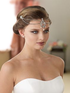 New Headpieces- 2016-Double rhinestone headband with combs and forehead jewels