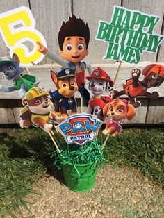 Paw Patrol Party Decoration Centerpiece INSERTS ONLY on Etsy, $12.00
