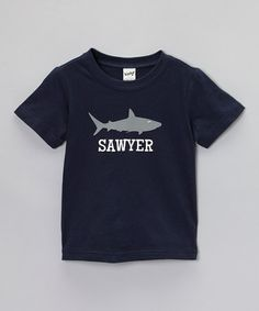 Look what I found on #zulily! Navy Blue Shark Personalized Tee - Toddler & Boys #zulilyfinds