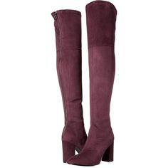 GUESS Arla (Burgundy) Women's Boots ($126) ❤ liked on Polyvore featuring shoes, boots, over-the-knee boots, guess? boots, shearling-lined boots, burgundy high heel boots, high heel boots and thigh high heel boots