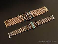This beading tutorial is for a luxurious Art Deco style bracelet with crystals. Thanks for its design, the bracelet can be easily customized both in length and width. The bracelet is done in one continuous path, making it easy and fun to make. The project was originally published in the Dec./Jan 2014 issue of Beadwork magazine. This tutorial includes the full & unedited instructions and illustrations. For this project you will need Japanese seed beads, Swarovski crystal bicone and round…