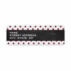 Vintage Chalkboard; Burgundy Polka Dots Return Address Labels