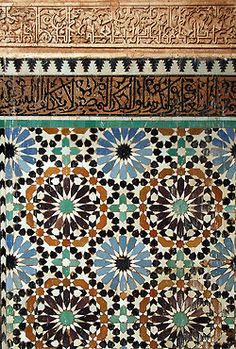 t-a-h-i-t-i: At the Sa'adian tombs by amerune on. Islamic Tiles, Islamic Decor, Islamic Art Pattern, Pattern Art, Granada, Geometry Pattern, Moorish, Fabric Wallpaper, Modern Bohemian