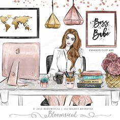 This Boss Babe Clip Art Fashion Illustration Girl Boss Office is just one of the custom, handmade pieces you'll find in our digital shops. Top Fashion, Arte Fashion, Fashion Books, Paper Fashion, Ladies Fashion, Trendy Fashion, Womens Fashion, Boss Babe, Girl Boss