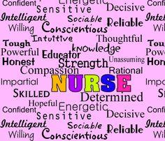 Nurse Describing Words-ed fabric by hot4tees_bg@yahoo_com on Spoonflower - custom fabric
