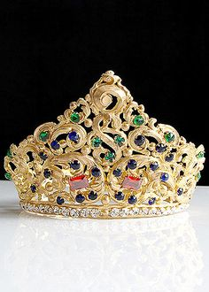19th Century Gilt Brass Repousse Tiara with Colored Facet Cut Glass Jewels