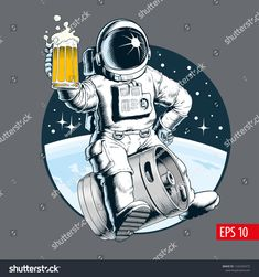 Find Astronaut Sits On Beer Keg Holds stock images in HD and millions of other royalty-free stock photos, illustrations and vectors in the Shutterstock collection. Beer Cartoon, Beer Keg, Wall Drawing, My Buddy, Creative Logo, Astronaut, Hold On, Royalty Free Stock Photos, Illustration