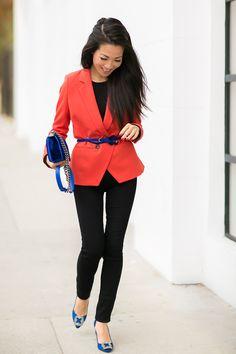 Entry: Complementary :: Autumn orange & Blue accents  :: Outfit :: Top :: Madewell blazer (old) (similar here & here), Splendid top Bottom :: thanks to Goldsign! Bag :: Chanel Shoes :: Manolo Blahnik Accessories :: Ann Taylor belt, Deborah Lippmann 'It's raining men' polish