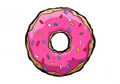 Free vector donut drawing - simple vector illustration inspired by Homer Simpson. Yummy donut on white background.