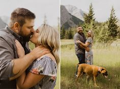 Engagement Photos at Lundbreck Falls in Crowsnest Pass with the couples' dogs in the pictures. Photos by Havilah Heger Photography Banff National Park, National Parks, Engagement Shoots, Wedding Engagement, My Favorite Part, How Beautiful, I Love Dogs, Hanging Out, Wedding Photos