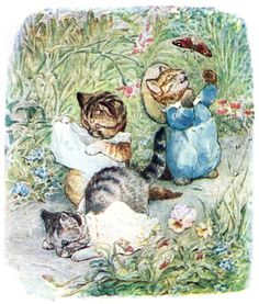 They trod upon their pinafores and fell on their noses. From The tale of Tom Kitten, by Beatrix Potter, New York, 1907. (Source: archive.org)