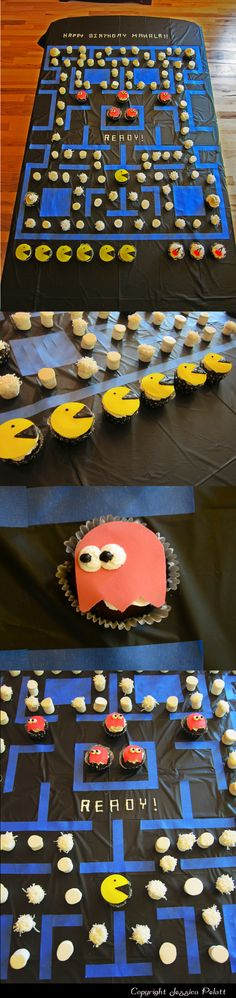 "80's Theme Party DIY Pacman Cupcake Display:  On a background of black plastic tablecloth I used blue painter's tape for the lines. The chocolate cupcakes are topped with white icing and cut-outs of icing sheets in yellow and red and colored with a chocolate ""pen"" (avail. at craft stores). The ""dots"" are marshmallows dipped in white chocolate (some are also dipped in coconut). Cherries"