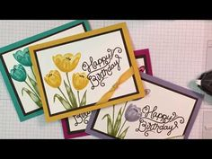 Stampin' Up! Happy Birthday card featuring Tranquil Tulips Stamp Set with www.bonniestamped.com - YouTube