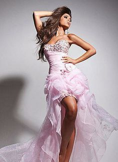 Tony Bowls 113549 strapless organza prom dress with jeweled bust, ruched bodice, flower accent at side waist, short beaded skirt and overskirt with front and back pickups and hi-lo hem. - Prom Dresses - Tony Bowls 113549 strapless organza prom dress with Pink Prom Dresses, Pretty Dresses, Homecoming Dresses, Formal Dresses, Dress Prom, Dresses Dresses, Dresses 2013, Short Dresses, Wedding Dresses