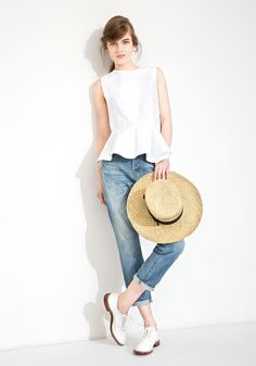 Le Ciel Bleu Ox Peplum top with Boyfriend denim by Essentials, with The Tanager straw hat by Gladys Tamez Millinery