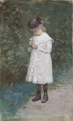 Anton Mauve - Elisabeth Mauve, dochtertje van de kunstenaar, staande op een tuinpad