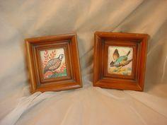 Vtg Quail Bird Picture Margo Alexander California 1948 Lot of 2 in Wood Frames Seller florasgarden on ebay