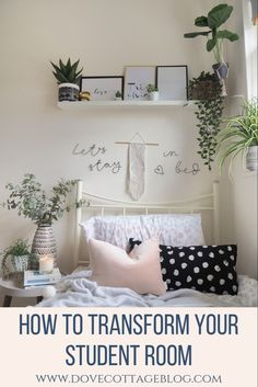 How to transform your student dorm room in student college accommodation with soft furnishings, accessories, artificial plants and interiors. Clever storage ideas and ways to personalise a small and boring single rented bedroom. Using clever storage, cosy soft furnishings and houseplants you can create a beautiful home from home while you're away at college. #studentroom #collegedorm #collegeroom #dormdecor #dormroom #dormroomideas #dormroomdecoratingideas #dorm #universityroom…