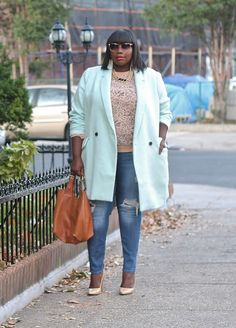 Currently obssessed with this mint colored Old Navy coat.  Full outfit details on the blog http://stylishcurves.com/style-journey-embracing-the-fall-weather-in-an-old-navy-mint-plus-size-coat/