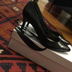Black leather Nine West pumps Black leather pointy toe pumps from Nine West. Leather upper, rubber sole, leather covered heel. Brand new in box. Nine West Shoes Heels