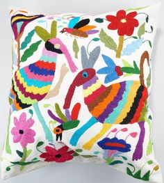 Our Mexican pillows are hand embroidered and made with love from Hidalgo, Mexico. A modern representation of the traditional Otomi style, Vogue and Hermes have recently praised this unique and bold embroidery.   eBay!