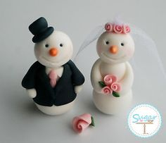 SNOWMAN BRIDE AND GROOM CAKE TOPPER WINTER WEDDING