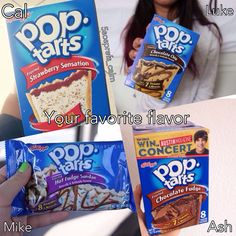 Comment fave and ideas 5sos Preferences, 5sos Imagines, Hot Fudge, 5 Sos, Chocolate Fudge, Pop Tarts, Snack Recipes, Strawberry, Bands