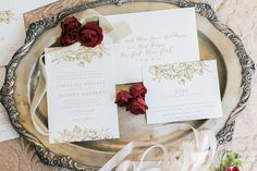Gold Floral Wedding Invitation from Minted