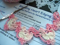Bleeding Heart Edging with written pattern, no charts. Very pretty in this variegated thread.